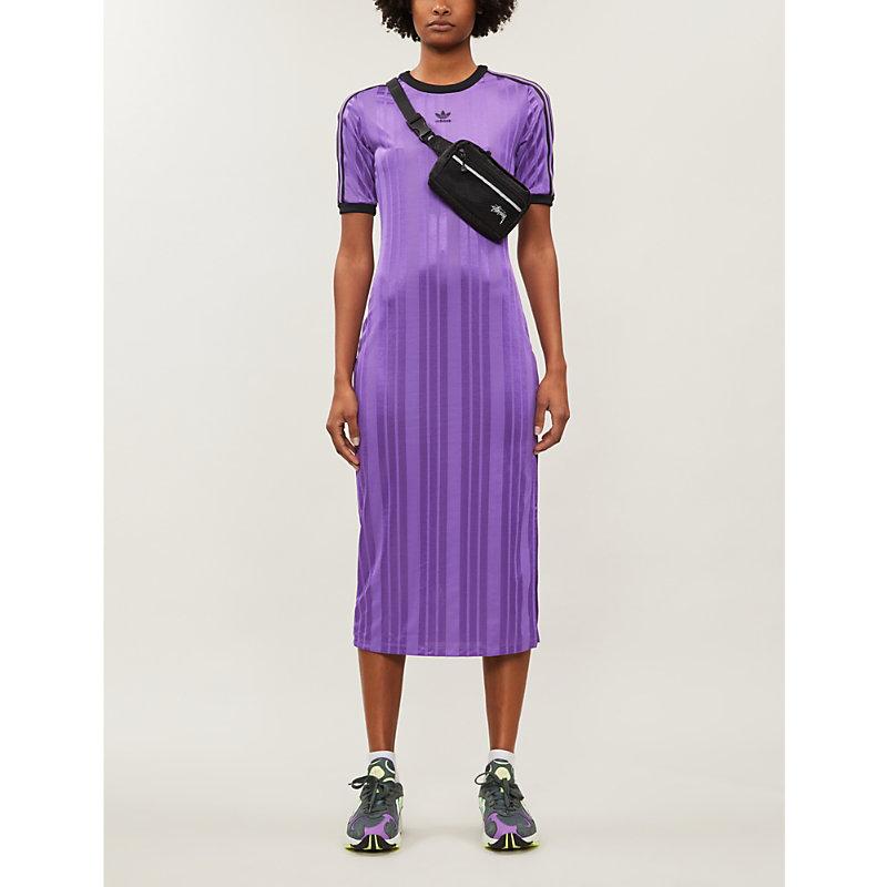 Adidas Originals Striped Jersey Dress In Active Purple   ModeSens