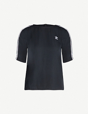 ADIDAS ORIGINALS 3-stripe short-sleeved crepe T-shirt