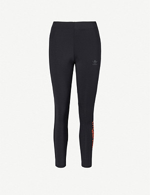 ADIDAS ORIGINALS Brand-print high-rise stretch-jersey leggings