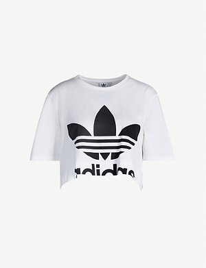 ADIDAS ORIGINALS Trefoil logo-print cropped cotton-jersey T-shirt