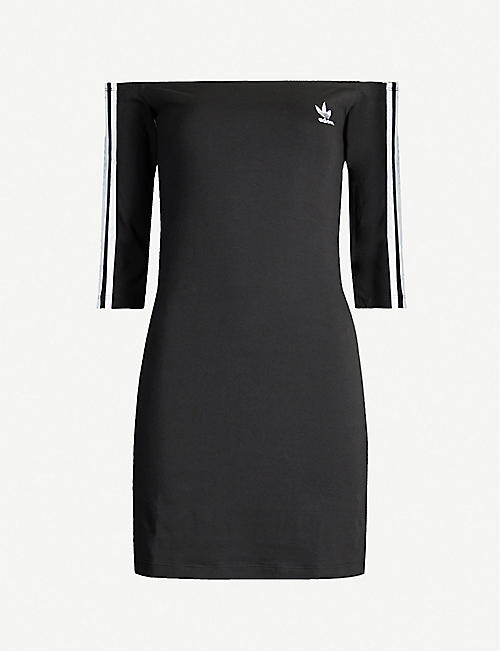 ADIDAS ORIGINALS Striped off-the-shoulder cotton-jersey mini dress