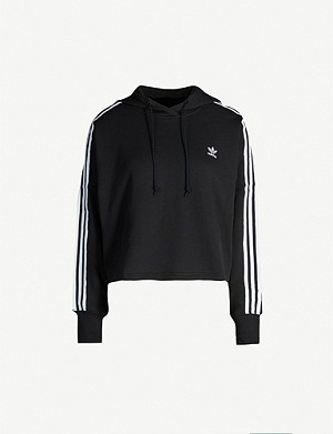 ADIDAS ORIGINALS Logo-embroidered cropped cotton-jersey hoody