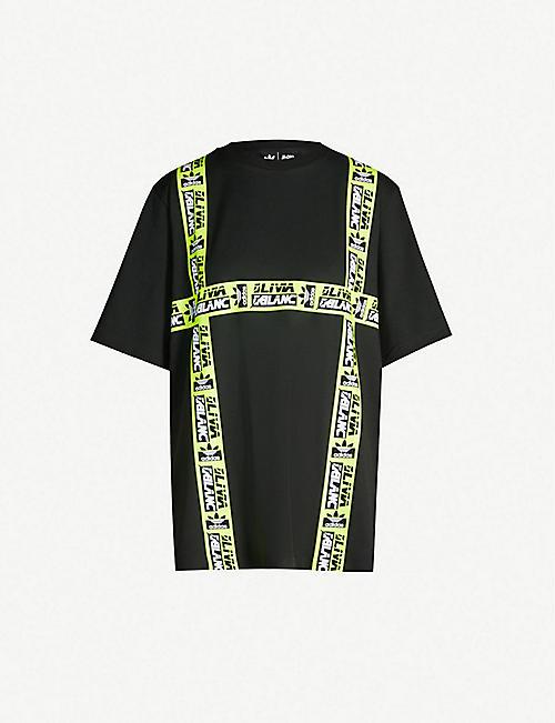 fd1c557cee1a ADIDAS ORIGINALS Logo-tape boyfriend-fit stretch-cotton T-shirt