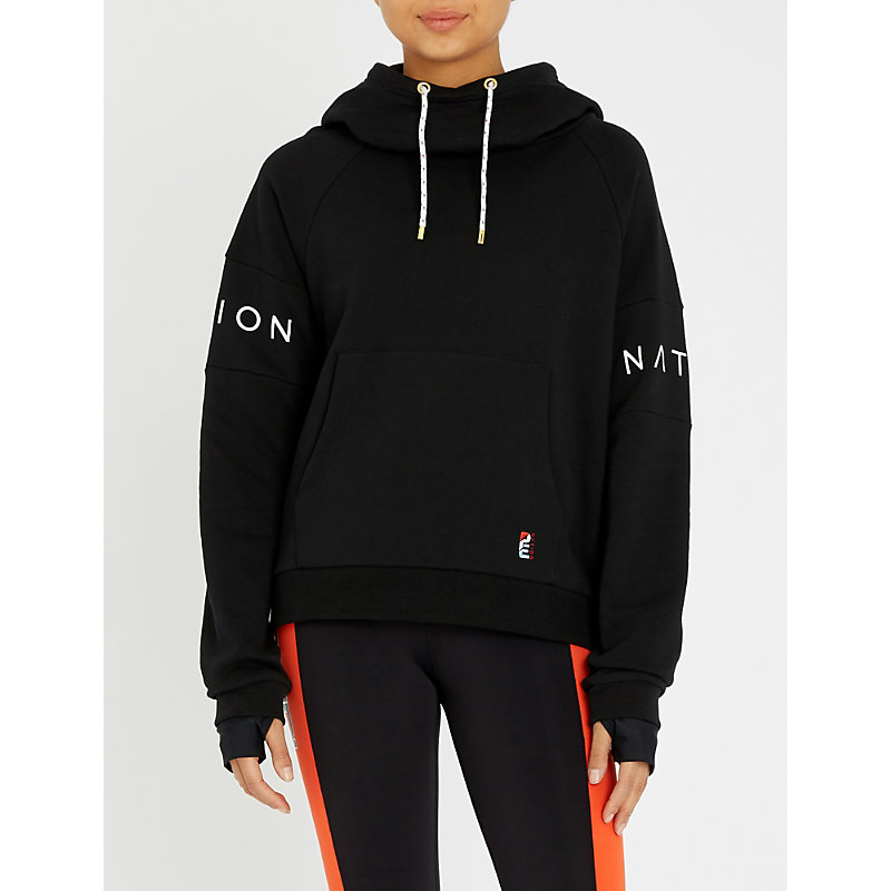 P.e Nation FORWARD DEFENDER LOGO-EMBROIDERED COTTON-JERSEY HOODY