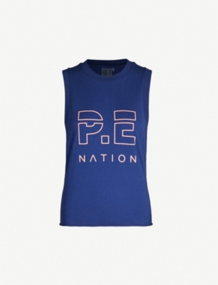 P.E NATION Throw In The Towel logo-print cotton tank top