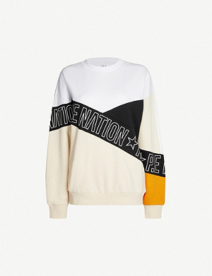 P.E NATION Elements logo print-panelled cotton-jersey sweatshirt