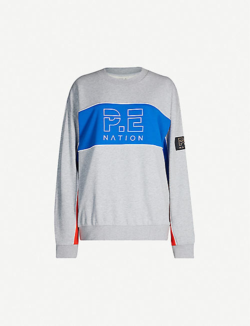 P.E NATION Sonic colour-block branded cotton-jersey sweatshirt