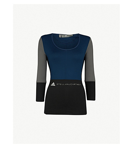 63ea7fd1568 ADIDAS BY STELLA MCCARTNEY Yoga Comfort stretch-jersey top  (Black+night+indigo
