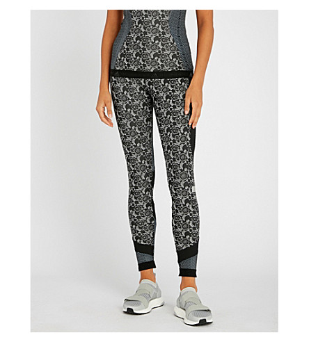 Run Printed Leggings, Black White