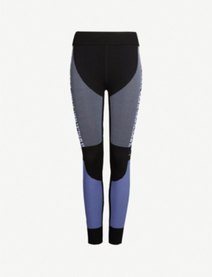 ADIDAS BY STELLA MCCARTNEY Contrast-panel cropped stretch-knit leggings