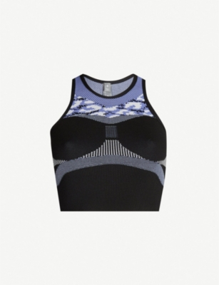 ADIDAS BY STELLA MCCARTNEY Contrast contour-panel cropped stretch-knit top