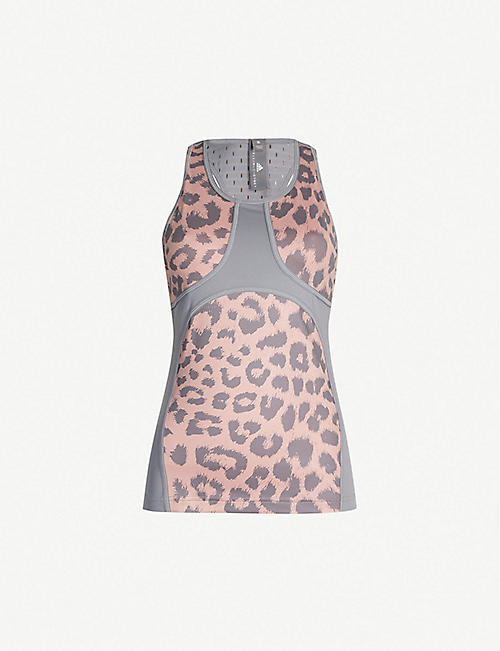 528f7fa4b4d3cc ADIDAS BY STELLA MCCARTNEY Believe This Comfort leopard-print  stretch-jersey top