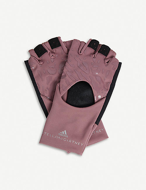 ADIDAS BY STELLA MCCARTNEY Leopard-print fingerless training gloves