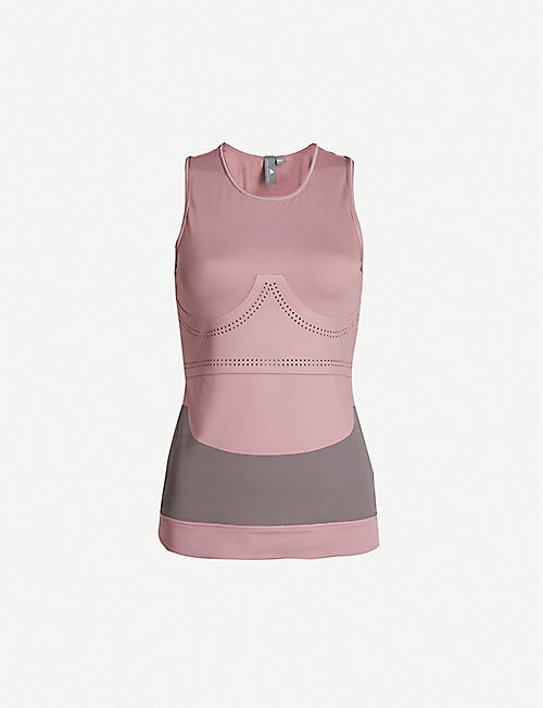 ADIDAS BY STELLA MCCARTNEY Contrast-panel stretch-jersey tank top