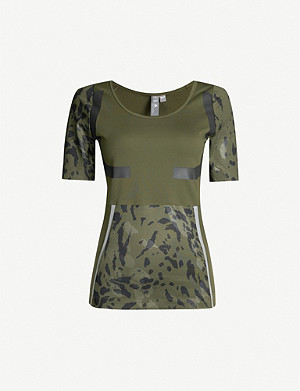 ADIDAS BY STELLA MCCARTNEY Run camouflage print-panelled stretch-jersey T-shirt