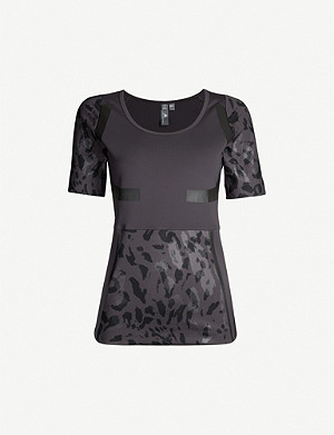 ADIDAS BY STELLA MCCARTNEY Run camouflage-print panelled stetch-jersey T-shirt