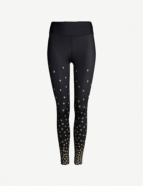 64f93a5dc31114 KORAL Metallic star-print cropped high-rise stretch-jersey leggings