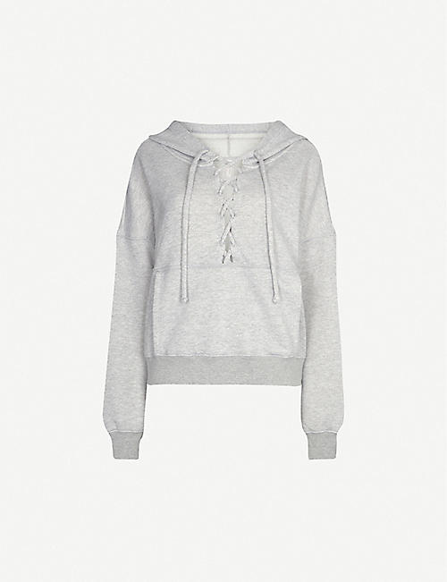 FREE PEOPLE Bliss Believe It cutout cotton-blend hoody