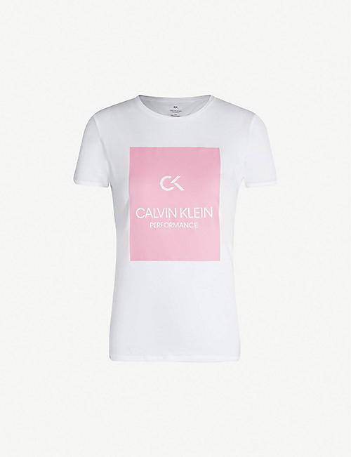554e30185c CALVIN KLEIN Branded cotton-jersey T-shirt