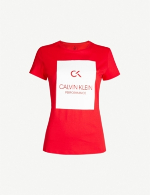 CALVIN KLEIN Branded cotton-jersey T-shirt