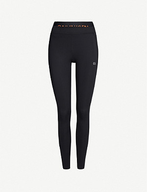 CALVIN KLEIN Double-waistband logo-print 7/8 stretch-jersey leggings