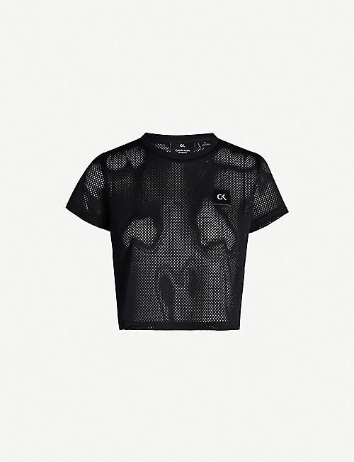 484b412759a CALVIN KLEIN Logo-patch mesh T-shirt