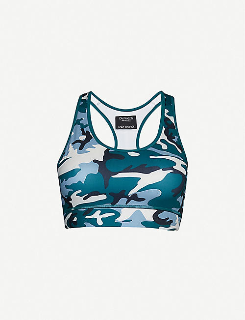 0a31e0af CALVIN KLEIN Camouflage-print stretch-jersey sports bra