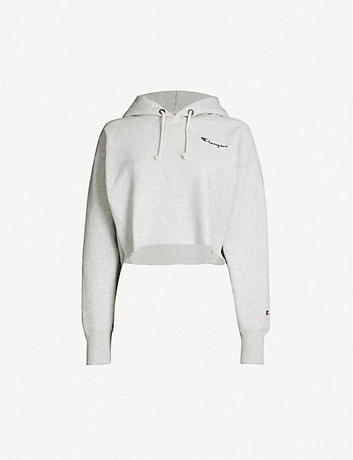 cb0dda76df5 CHAMPION Cropped logo-embroidered cotton-jersey hoody