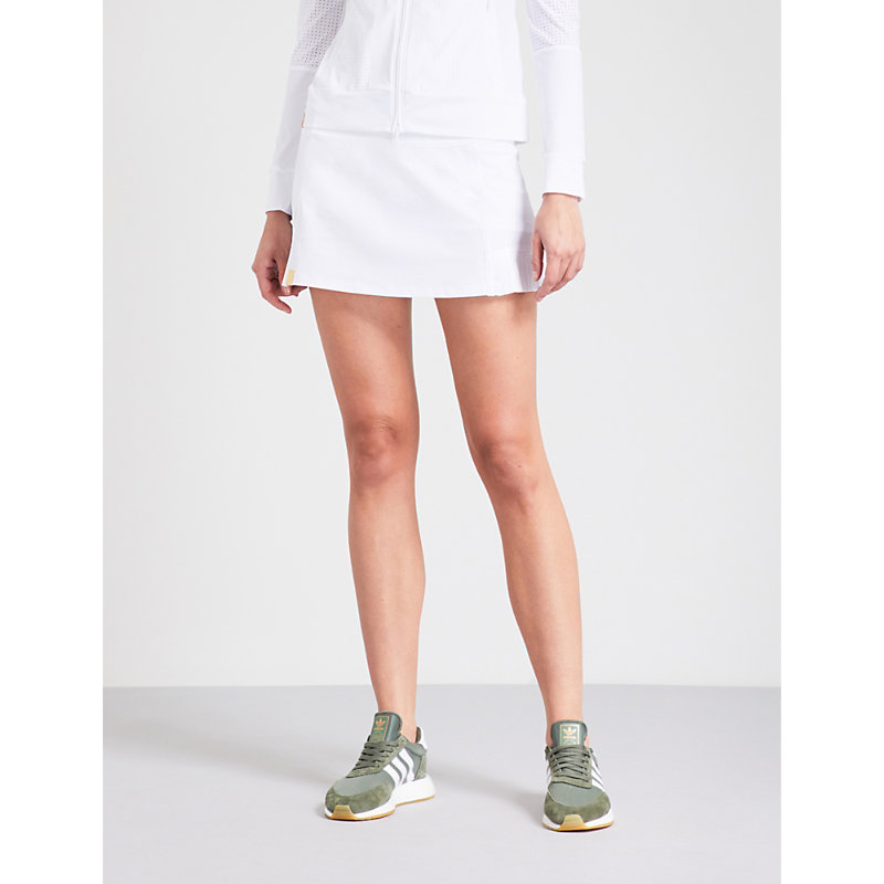 Player Shorts-Lined Stretch-Jersey Skirt, White