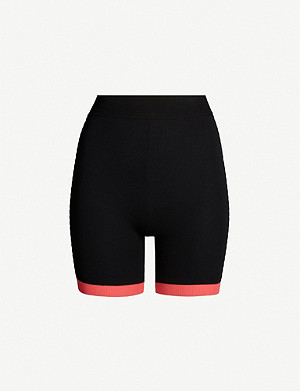 NAGNATA Bodhi high-rise contrast-trim cotton-blend shorts