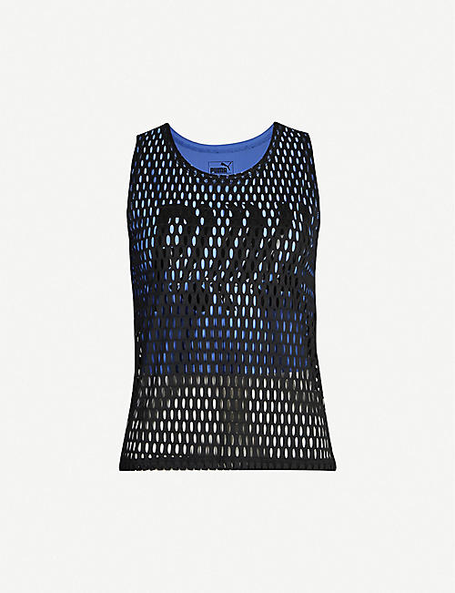 PUMA Logo-print stretch-jersey and mesh top