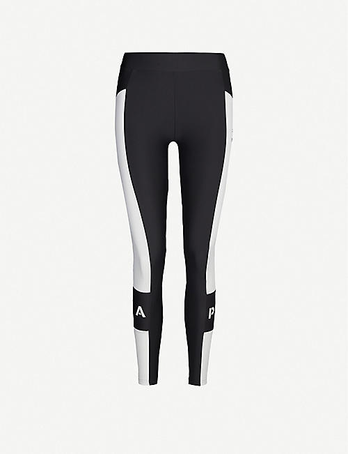 PUMA Tonal-striped high-waisted stretch-jersey leggings