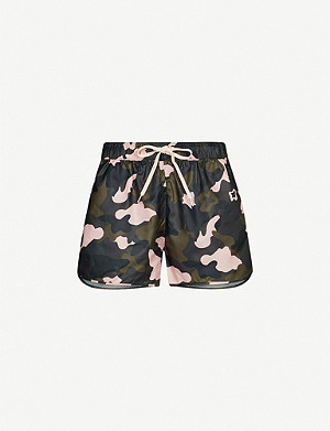 THE UPSIDE Forest camouflage shell shorts