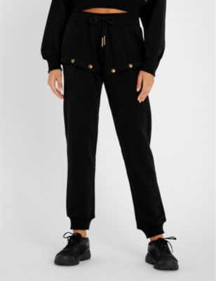 Popper Fastened Cotton Jersey Jogging Bottoms by Ivy Park