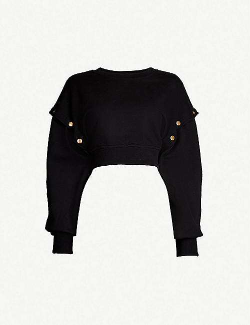 72225f8fa IVY PARK Popper-detail cotton-jersey sweatshirt