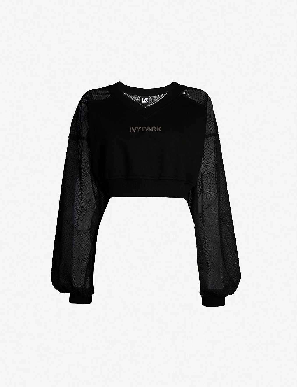 cf0d26d075c IVY PARK - Lace-detail jersey and mesh crop top | Selfridges.com
