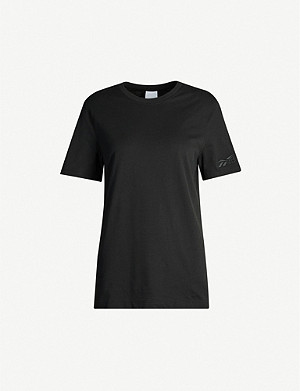 REEBOK X VICTORIA BECKHAM Relaxed-fit brand-embroidered cotton-jersey T-shirt