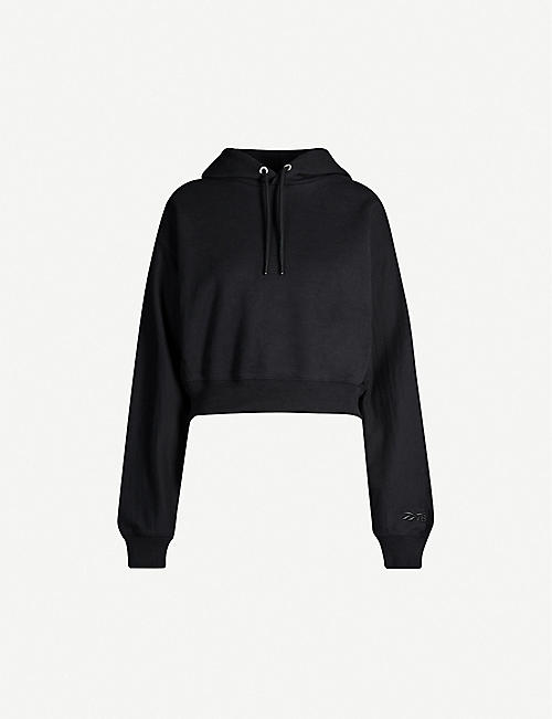 REEBOK X VICTORIA BECKHAM Cropped brand-embroidered cotton-jersey hoody