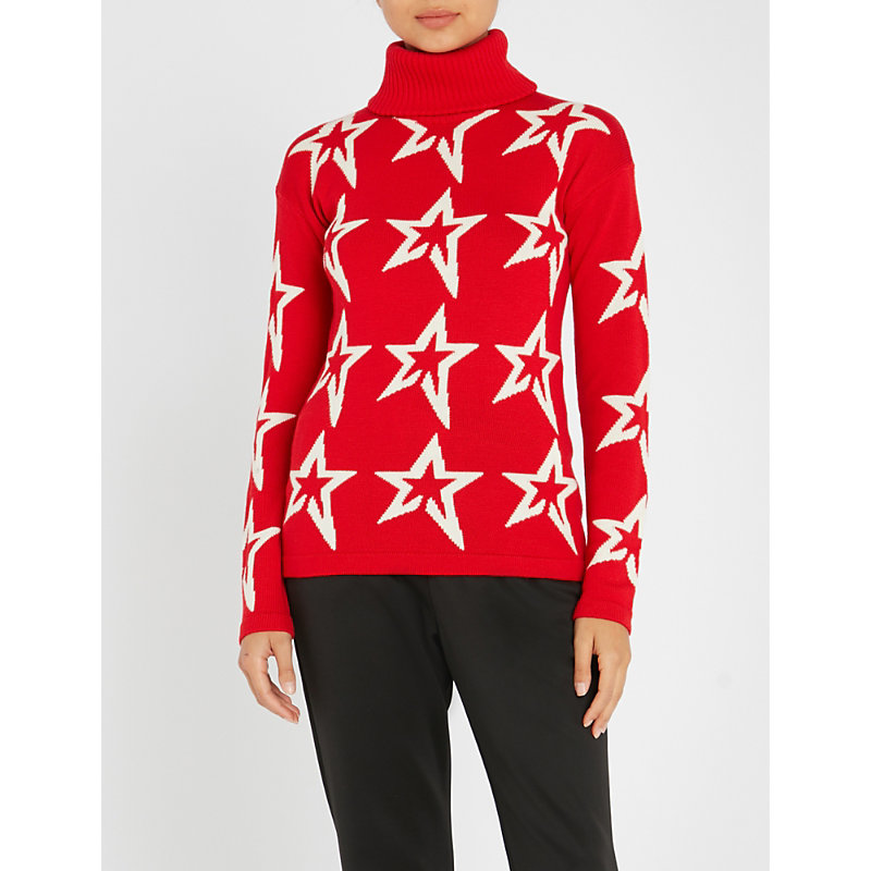 PERFECT MOMENT Stardust Wool Ski Sweater in Red