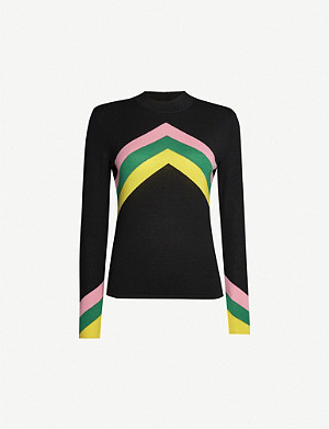 PERFECT MOMENT Chevron-stripe merino wool jumper