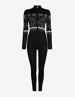 PERFECT MOMENT High-neck fairisle-pattern knitted ski suit
