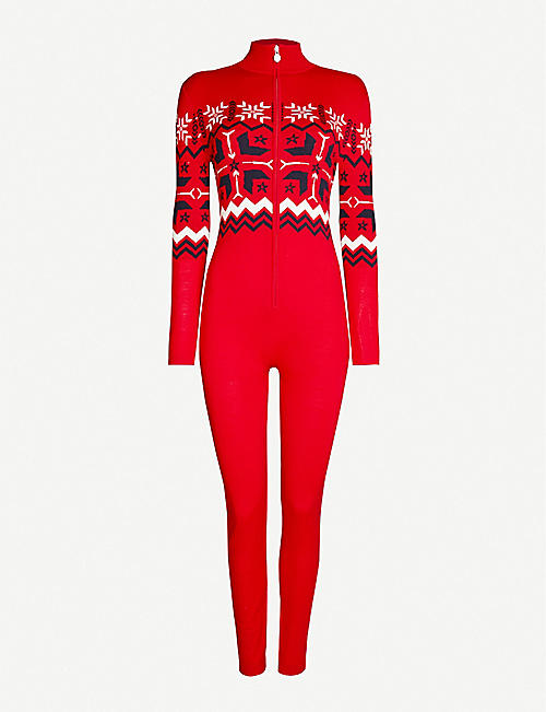 PERFECT MOMENT: High-neck fairisle-pattern knitted ski suit