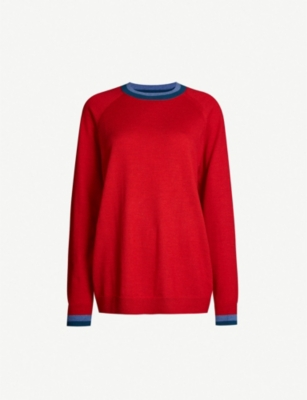 LNDR Contrast-trim round-neck wool jumper