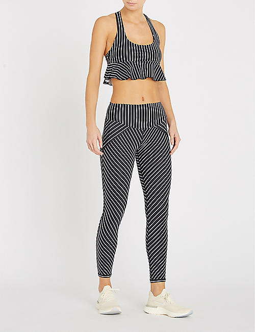 LURV Earning Stripes frill-detail stretch-jersey bralette