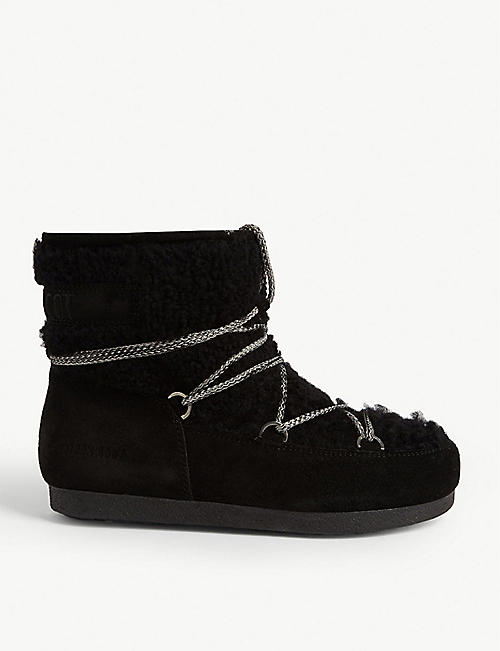 MOON BOOT Faux fur-trimmed suede ankle boots