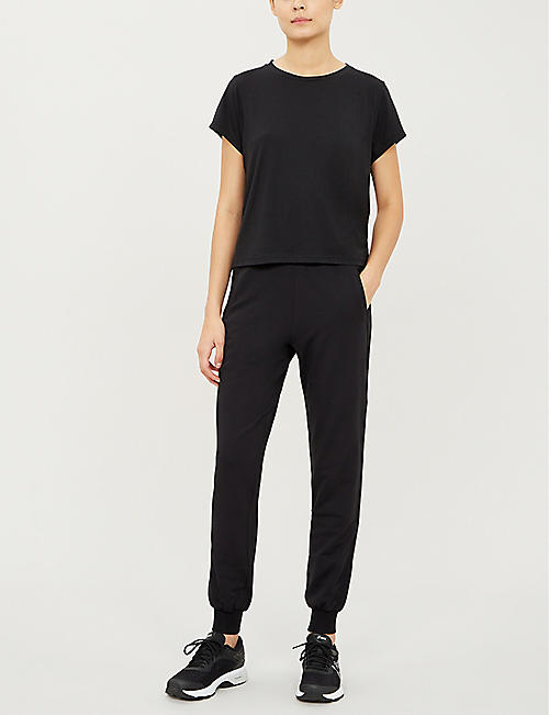 VAARA Monroe tapered cropped stretch-jersey jogging bottoms