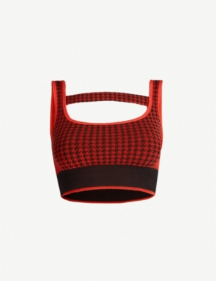 NAGNATA Houndstooth-pattern stretch-wool crop top