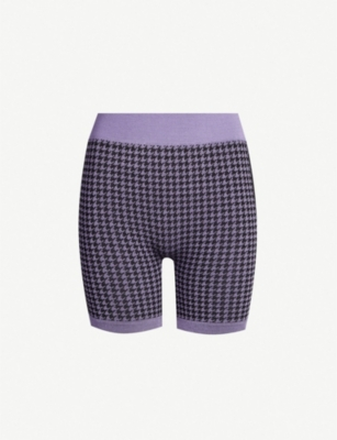 NAGNATA Houndsooth-pattern stretch-knit shorts