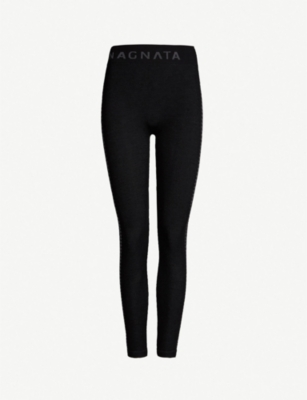 NAGNATA Laya houndstooth-trim stretch-knit leggings