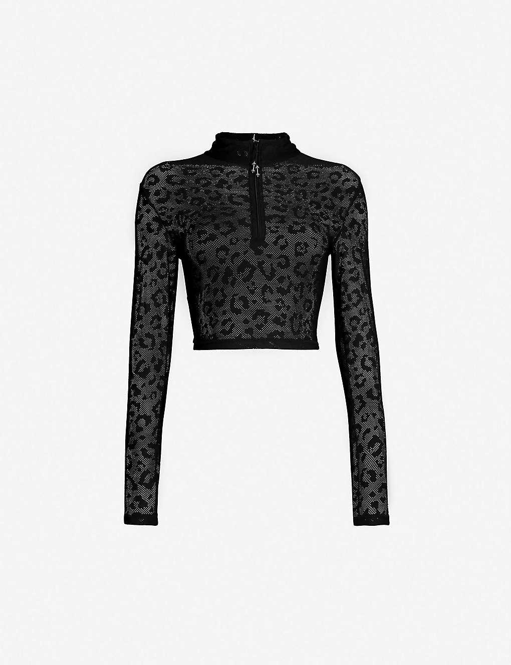 e1ad90c81e1 ADAM SELMAN SPORT - Leopard-pattern stretch-jersey crop top ...